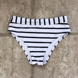 Stripped bottom bathing suit piece